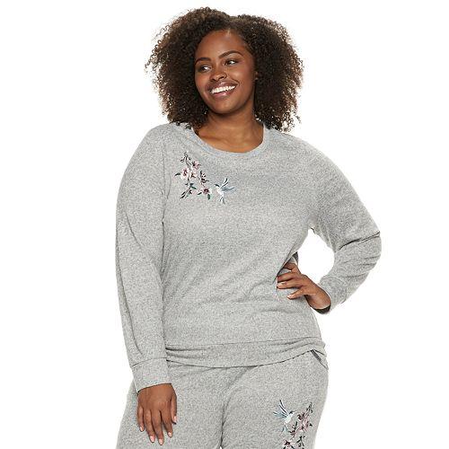 Plus Size Gloria Vanderbilt Embroidered Crewneck Pajama Tee
