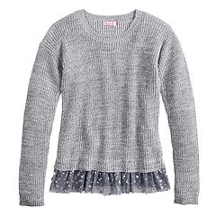 Girls 7-16 & Plus Size SO® Ribbed Mock-Layer Crewneck Sweater