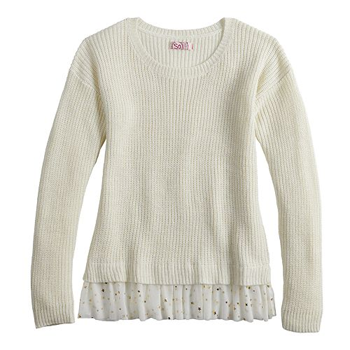 Girls 7-16 & Plus Size SO® Ribbed Mock-Layer Crewneck Sweater
