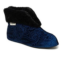 Women's Dearfoams Embossed Velour Bootie Slippers