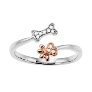 10k White Gold Diamond Accent Bone & Paw Print Ring