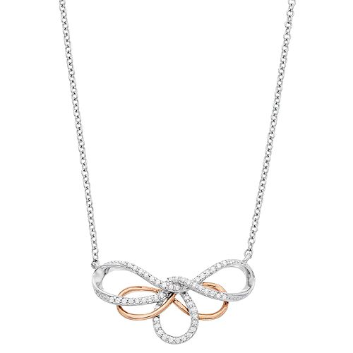 Simply Vera Vera Wang Two Tone Sterling Silver 1/10 Carat T.W. Diamond Swirl Necklace