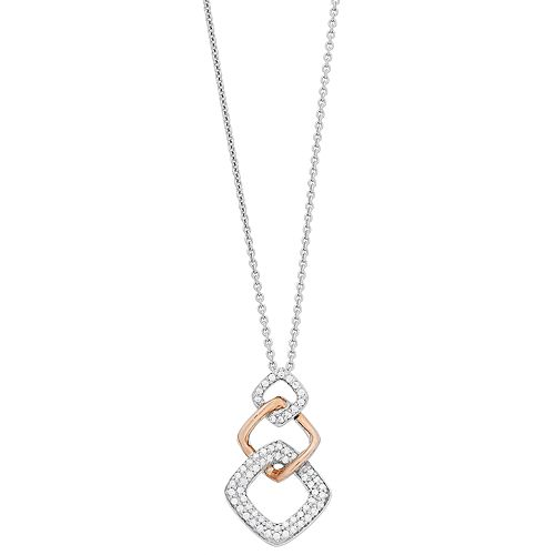 Simply Vera Vera Wang 14k Rose Gold & Sterling Silver 1/4 Carat T.W. Diamond Graduated Pendant