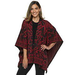Women's Dana Buchman Jacquard Poncho Sweater