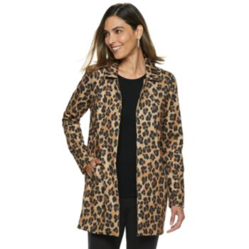 Women's Dana Buchman Leopard Open-Front Coat
