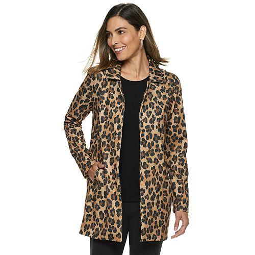 87c536e2efe9 Women's Dana Buchman Leopard Open-Front Coat