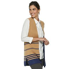 Women's Dana Buchman Striped Long Sweater Vest