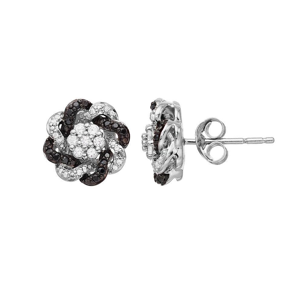 Simply Vera Vera Wang Sterling Silver 1/3 Carat T.W. Black & White Diamond Knot Earrings