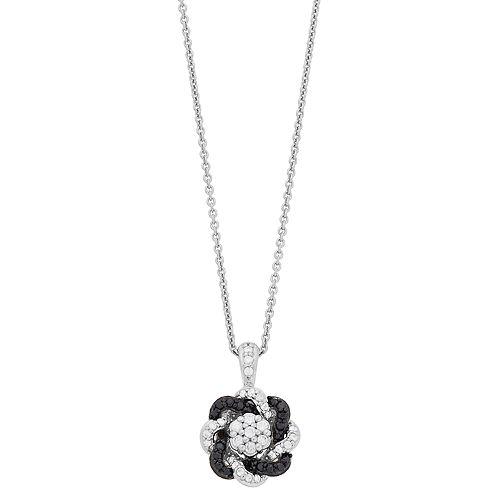 Simply Vera Vera Wang Sterling Silver 1/3 Carat Black & White Diamond Knot Pendant Necklace