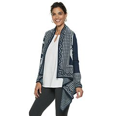 Women's Dana Buchman Houndstooth-Trim Draped Open-Front Cardigan
