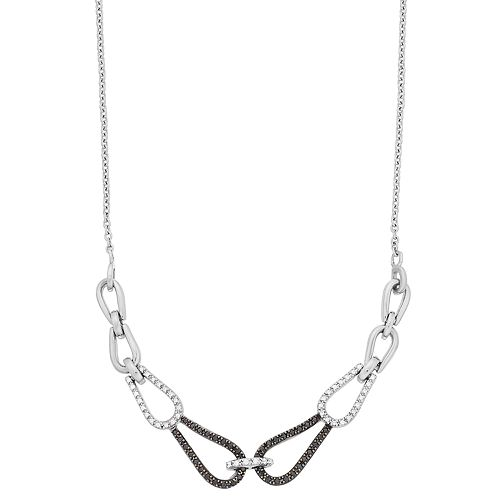 Simply Vera Vera Wang Sterling Silver 1/3 Carat T.W. Black & White Diamond Chain Necklace