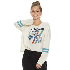 Juniors' Stranger Things Striped Long Sleeve Graphic Tee