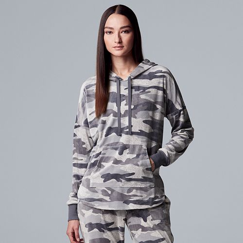Women's Simply Vera Vera Wang Hooded Plush Pajama Top