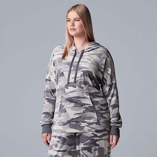 Plus Size Simply Vera Vera Wang Hooded Plush Pajama Top