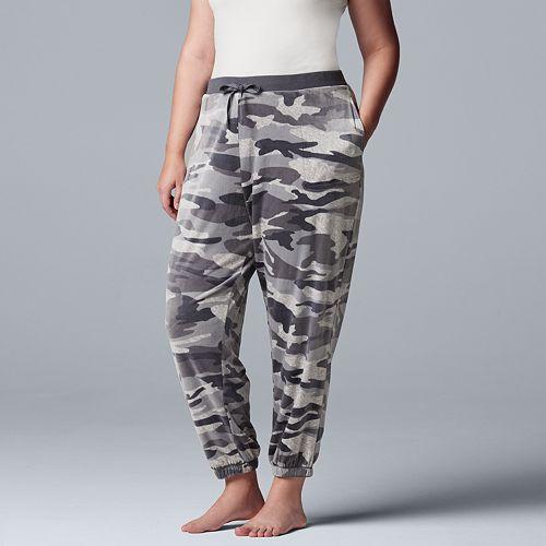 Plus Size Simply Vera Vera Wang Plush Jogger Pajama Pants