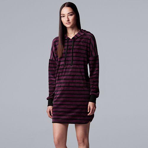 Women's Simply Vera Vera Wang Plush Hooded Sleepshirt