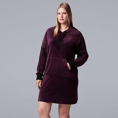 Plus Size Simply Vera Vera Wang Plush Hooded Sleepshirt