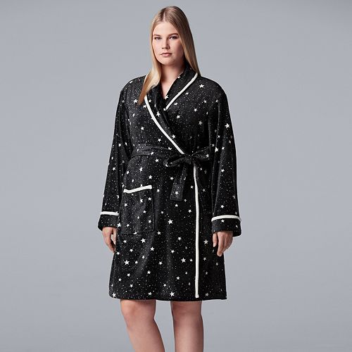 Plus Size Simply Vera Vera Wang Printed Plush Wrap Robe