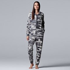 Women's Simply Vera Vera Wang Printed Plush One-Piece Pajamas