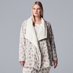 Plus Size Simply Vera Vera Wang Plush Wrap Cardigan