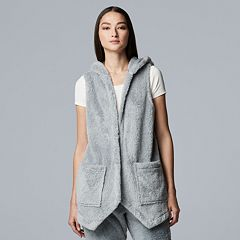Women's Simply Vera Vera Wang Plush Hooded Vest