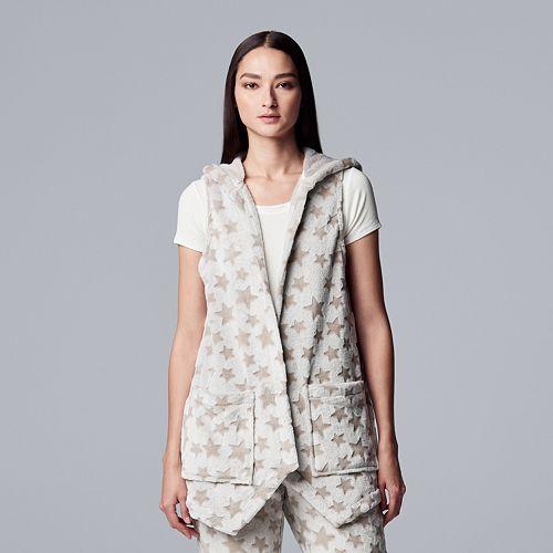 Women's Simply Vera Vera Wang Chenille Hooded Vest