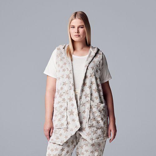 Plus Size Simply Vera Vera Wang Plush Hooded Vest