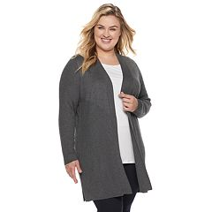 Plus Size Dana Buchman Ribbed Duster Cardigan