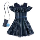 Girls 7-16 Knitworks Belted Striped Cold Shoulder Dress & Purse with Poof Set