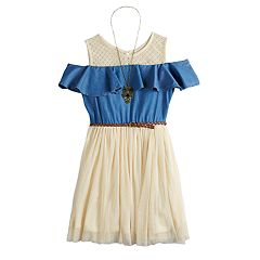 Girls 7-16 Knitworks Belted Cold Shoulder Skater Dress with Necklace