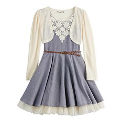 Girls 7-16 Knitworks Belted Chambray Skater Dress & Knit Shrug Set