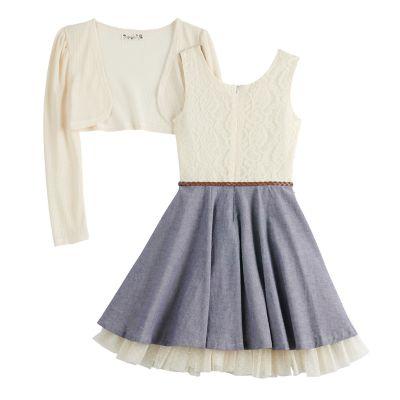 Girls 7-16 Knitworks Belted Chambray Skater Dress & Knit Shrug Set