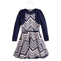 Girls 7-16 Knitworks Belted Chevron Skater Dress & Shrug Set with Necklace