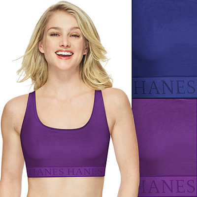 Women's Hanes 2-Pack Ultimate Racerback Sports Bra DHHUTC