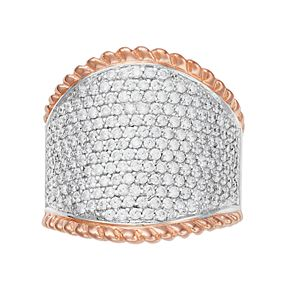 Two Tone Sterling Silver Cubic Zirconia Pave Ring