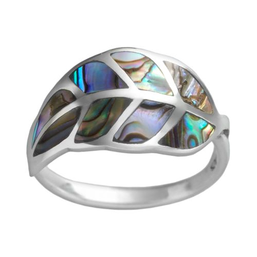 Sterling Silver Abalone Leaf Ring