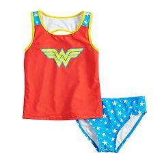 06d7a63cf00bb Girls 4-6x DC Comics Wonder Woman Tankini Top   Bottoms Swimsuit Set