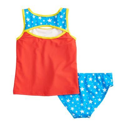 Girls 4-6x DC Comics Wonder Woman Tankini Top & Bottoms Swimsuit Set
