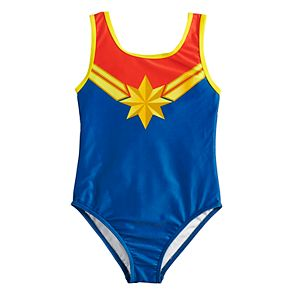 Girls 4-6x Marvel Captain Marvel One-Piece Swimsuit