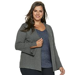 Plus Size Jennifer Lopez Studded Cuff Open-Front Cardigan