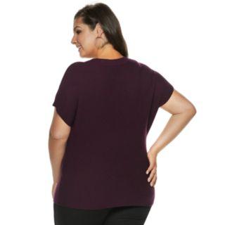 Plus Size Jennifer Lopez Studded V-Neck Sweater