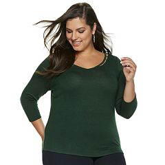 Plus Size Jennifer Lopez Beaded-Inset V-neck Top