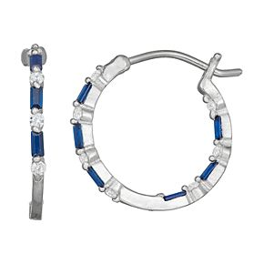 Sterling Silver Lab-Created Sapphire Hoop Earrings