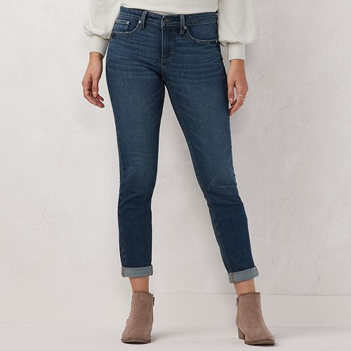 Petite LC Lauren Conrad Cuffed Midrise Skinny Jeans