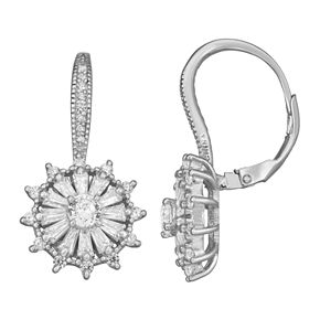 Sterling Silver Cubic Zirconia Leverback Earrings