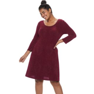 Juniors' Plus Size Three Pink Hearts Glitter Open Back Shift Dress