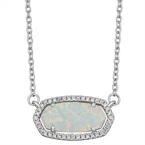 Sterling Silver Lab-Created Opal & Lab-Created White Sapphire Necklace
