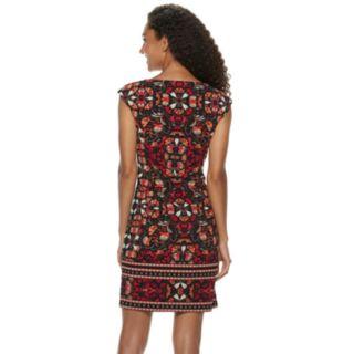 Petite Suite 7 Cap Sleeve Scuba Crepe Sheath Dress