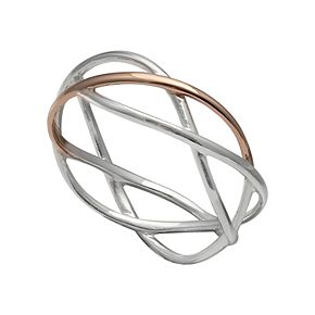 PRIMROSE Two Tone Sterling Silver Crossover Ring