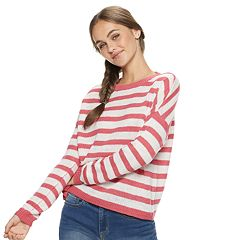 Juniors' SO® Striped Boucle Scoopneck Sweater